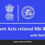 Important Acts related to RBI