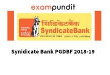 Syndicate Bank PGDBF