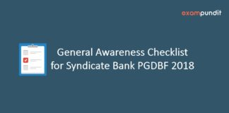 General Awareness Checklist for Syndicate Bank PGDBF 2018