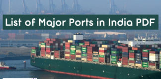 List of Major Ports in India PDF