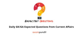 Daily GK/GA Expected Questions from Current Affairs