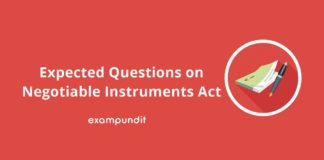 Expected Questions on Negotiable Instruments Act
