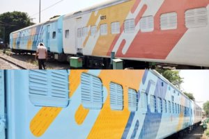The new colour scheme of Indian Railways is beige and brown