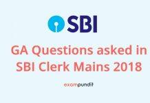 GA Questions asked in SBI Clerk Mains 2018