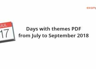 Days with themes PDF from July to September 2018