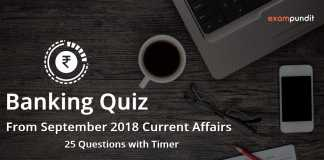 Banking Quiz from September 2018 Current Affairs