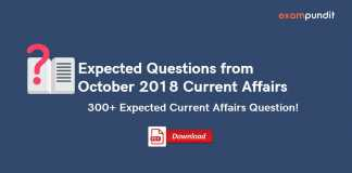 Expected Questions from October 2018 Current Affairs