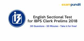 English Sectional Test for IBPS Clerk Prelims 2018