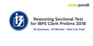 Reasoning Sectional Test for IBPS Clerk Prelims 2018