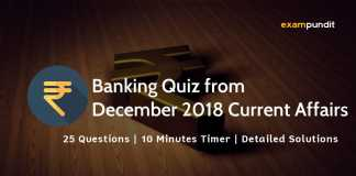 Banking Quiz from December 2018 Current Affairs