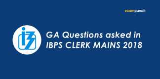 GA Questions asked in IBPS CLERK MAINS 2018