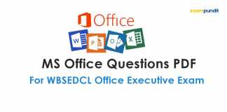 MS Office Questions PDF for WBSEDCL Office Executive