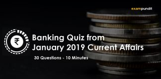 Banking Quiz from January 2019 Current Affairs