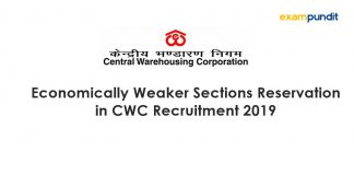 Economically Weaker Sections Reservation in CWC Recruitment 2019