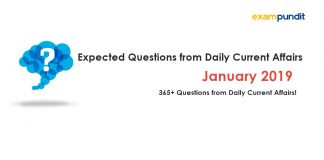 Expected Questions from January 2019 Current Affairs PDF