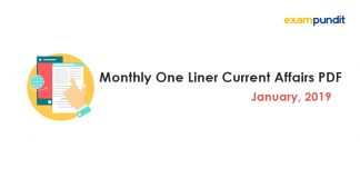 Monthly One Liner Current Affairs PDF January 2019
