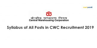 Syllabus of All Posts in CWC Recruitment 2019