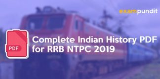 Complete Indian History PDF for RRB NTPC 2019