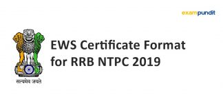 EWS Certificate Format for RRB NTPC 2019