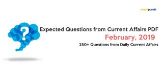 Expected Questions from February 2019 Current Affairs