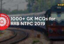 GK MCQs PDF for RRB NTPC 2019