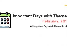 Important Days with Themes February 2019