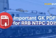 Important GK PDFs for RRB NTPC 2019
