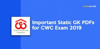 Important Static GK PDFs for CWC Exam 2019