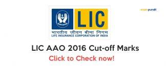 LIC AAO 2016 Cut-off Marks
