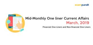 Mid-Monthly One liner Current Affairs March 2019