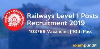 Railways Level 1 Posts Recruitment 2019
