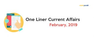 Monthly One Liner Current Affairs PDF February 2019