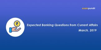 Expected Banking Questions from March 2019 Current Affairs