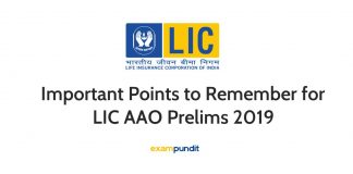 Important Points to Remember for LIC AAO Prelims 2019
