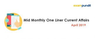 Mid Monthly One Liner Current Affairs April 2019