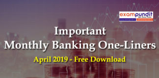 Monthly Banking Awareness One Liner PDF April 2019
