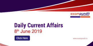 Daily Current Affairs 8th June 2019