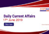 Daily Current Affairs 17th June 2019