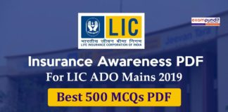 Insurance Awareness for LIC ADO Mains 2019