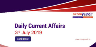 Daily Current Affairs 3rd July 2019
