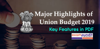 Major Highlights of Union Budget 2019