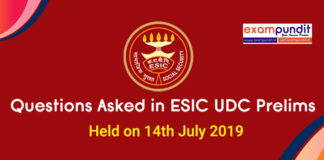 Questions Asked in ESIC UDC