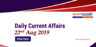 Current Affairs Today 22nd August 2019