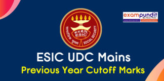 ESIC UDC Mains Previous Year Cutoff Marks State wise