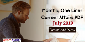 Monthly One Liner Current Affairs PDF July 2019