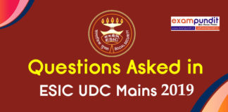 Questions Asked in ESIC UDC Mains 2019