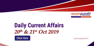 Daily Current Affairs 20th and 21st Oct 2019