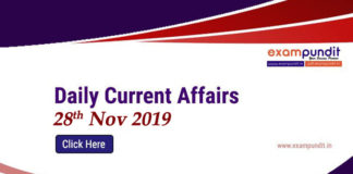 Current Affairs Today 28th November 2019