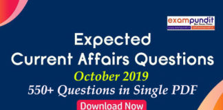 Expected Questions from October 2019 Current Affairs