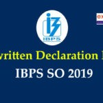 Handwritten declaration for IBPS SO 2019